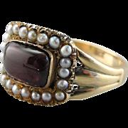 Rare Georgian Garnet and Seed Pearl Halo Ring, All Original