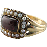 Rare Georgian Garnet and Seed Pearl Halo Ring, All Original
