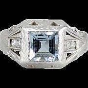 Men's Architectural Aquamarine and Diamond Statement Ring