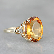 Sunny Vibrant Citrine Ring, Citrine Birthstone, Right Hand Ring