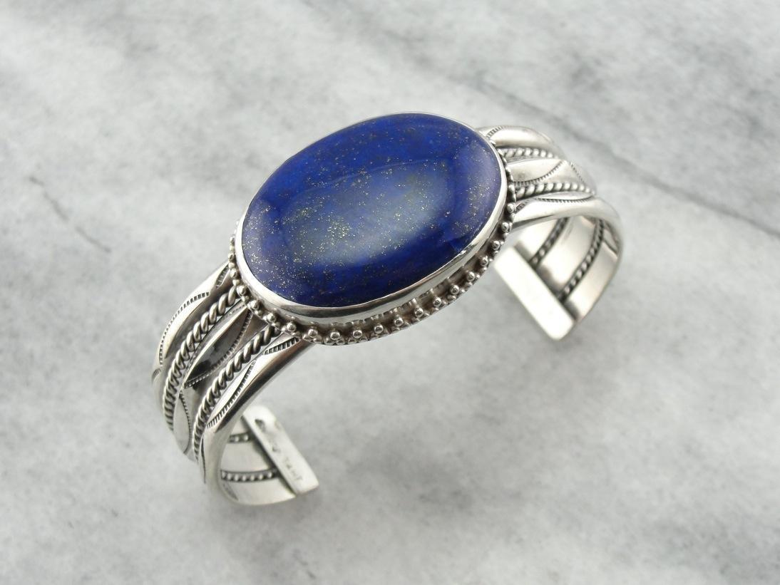 Striking Lapis Lazuli Sterling Silver Cuff Bracelet From