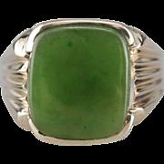 Men's Retro Era Jade Cabochon Ring