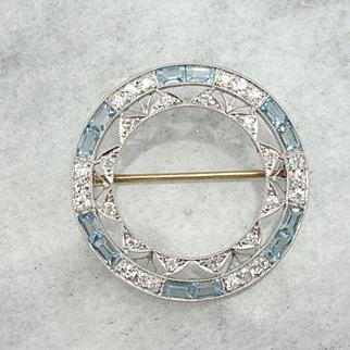900 Platinum Pin with Fine Diamonds & Aquamarines