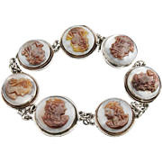 Round Mother of Pearl Cameo Link Bracelet, Carved Shell Bracelet