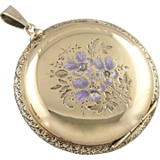 Enameled Flower Keepsake Locket, Solid 14K Gold Pocket Watch Case Turned Locket