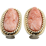 Gorgeous Carved Coral Cameo Earrings, Classic Clip On Earrings
