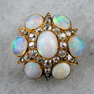 Gorgeous Opal Old Mine Cut Diamond Cluster Brooch or Pendant, Victorian Opal and Diamond Brooch, Victorian Estate Jewelry