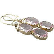 Blush Pink Glass and 10 Karat Gold Drop Earrings