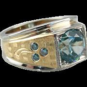 Men's Blue Zircon Statement Ring with Blue Diamond Clover