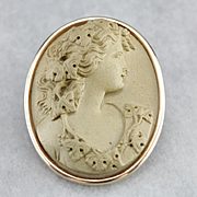 Rare Antique Lava Cameo Brooch