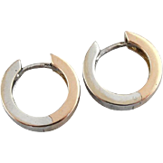 Rose and White 18K Gold, Reversible, Cuff Style Hoop Earrings