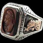 Tiger's Eye Sardonyx Intaglio Men's Ring in Mixed Metal Statement Setting