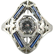 Art Deco Dinner Ring, 18K White Gold with Diamond and Synthetic Sapphires, Filigree