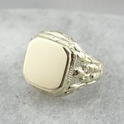 Egyptian Revival Large Signet Ring in 14K Green Gold