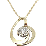 Diamond and 14K Gold Pendant from Vintage Components, Lovely Chain