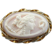 Beautiful Vintage Cameo Depicting Snake And Goddess