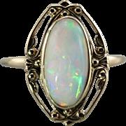 Vintage Opal Cocktail Ring, Beautiful Filigree Frame