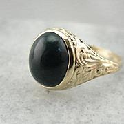 Vintage Green Bloodstone Ring in Ornate Setting