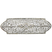 Edwardian Diamond Filigree Bridal Brooch in 10K White Gold with Tiny Diamond Center, Perfect Bridal Gift