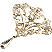 Belle Époque Old European Cut Diamond Brooch or Pendant