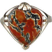 Vintage Carnelian Moss Agate Heart Shaped Statement Ring