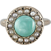 Antique Turquoise and Seed Pearl Halo Ring
