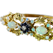 Opal and Blue Sapphire Decorative 14K Yellow Gold Bangle Bracelet, Ornate Floral Motifs
