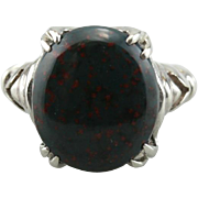 Speckled Oval Bloodstone Ring