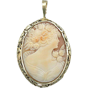 Upcycled Large Cameo Pendant with Floral Frame of 14K Green Gold