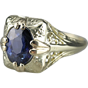 Fine Filigree Sapphire Ring