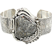 Upcycled Pyrite Quartz Cuff Bracelet in Sterling Silver, Gorgeous Victorian Style Engraved Motifs, Nouveau Setting