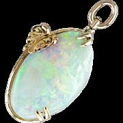 Fantastic Opal Pendant with Gold Leaf, Ethiopian Opal Gemstone Pendant, Artisan Handmade