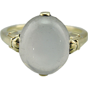 Oval Moonstone Cocktail Ring in Simple Green 14K Gold Mounting
