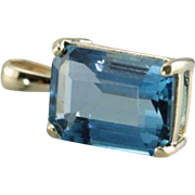 Swiss Blue Topaz Pendant in 14K Yellow Gold, Stunning Something Blue for the Bride to Be