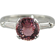 Summer Rose: Pink Sapphire and Diamond Engagement Ring in 900 Platinum Setting