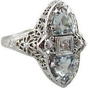 Incredible Diamond and Aquamarine Filigree Cocktail Ring