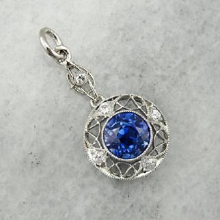 Edwardian Unheated Ceylon Sapphire and Diamond Lavalier Pendant, Rare, High Quality Gemstone