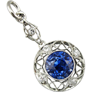 Art Deco Unheated Ceylon Sapphire and Diamond Lavalier Pendant, Rare, High Quality Gemstone