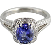 Contemporary Benchmark Quality Sapphire, Platinum and Diamond Luxury Engagement Ring