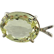 Lemon Lime Sillimanite Pendant, Simple and Special Sterling Solitaire Drop