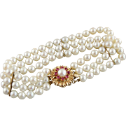 Retro Era Gorgeous Ruby And Cultured Pearl Triple Strand Bracelet