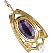 Sweet and Small Art Nouveau Amethyst and Seed Pearl Pendant, Antique Amethyst Pendant