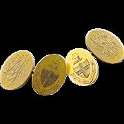 Handsome Antique Yellow 14K Gold Cufflinks, Ornate Family Crest Cufflinks