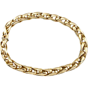 Vintage Italian Polished 14K Yellow Gold Heavy Snake Chain Necklace