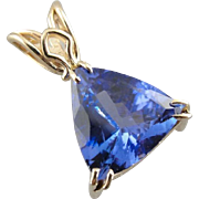 Tanzanite Treasure: Fancy Cut Fine Tanzanite Pendant, Simple 14K Yellow Gold Mounting