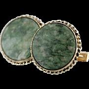 Earthy Nephrite Jade Cufflinks in 14 Karat Gold