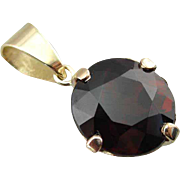 Deep Red Round Garnet Drop Pendant