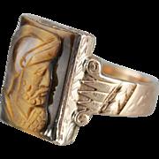 Victorian Tiger's Eye Cameo, Rose 14 Karat Gold Ring, Men's Statement Ring
