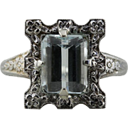 Floral Framed, Stunning  Aquamarine Ring in Floral Art Deco Mounting
