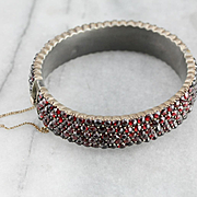 Victorian Bohemian Czech Garnet Bangle Bracelet, Antique Garnet Bracelet